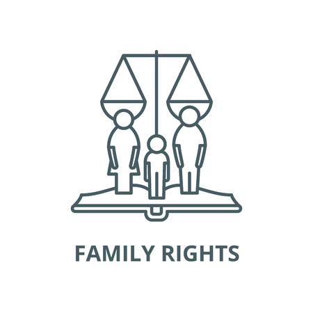 Icono de línea de vector de derechos de familia, concepto de contorno, signo lineal
