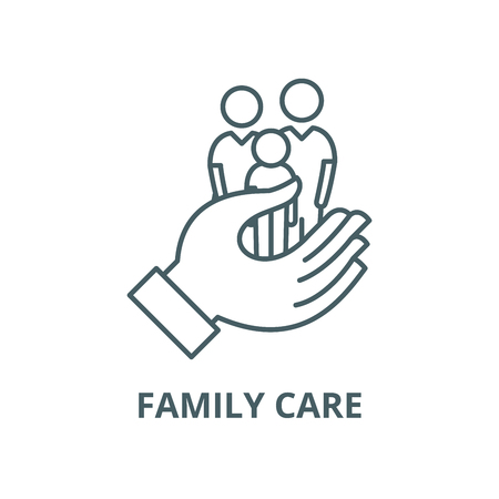 Family care vector line icon, outline concept, linear sign Illustration