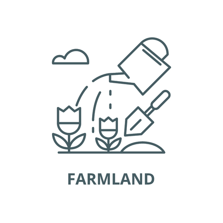 Farmland vector line icon, outline concept, linear sign Illustration