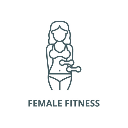 Female fitness vector line icon, outline concept, linear sign