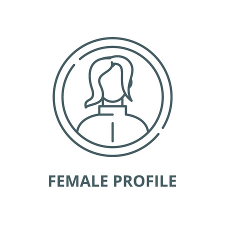 Female profile vector line icon, outline concept, linear sign