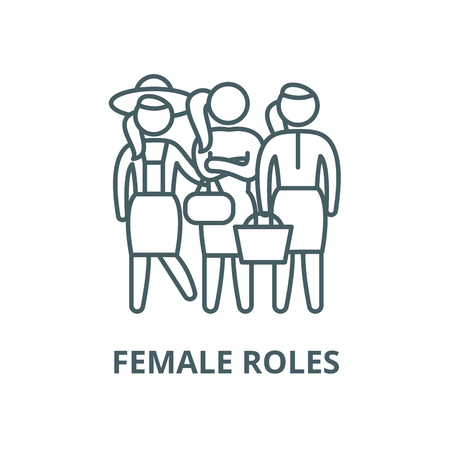 Female roles vector line icon, outline concept, linear sign