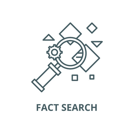 Fact search vector line icon, outline concept, linear sign Illustration