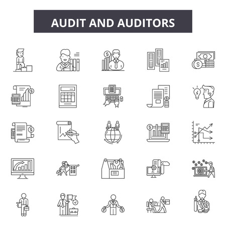 Audit and auditors line icons, signs, vector set, outline concept, linear illustration Vectores
