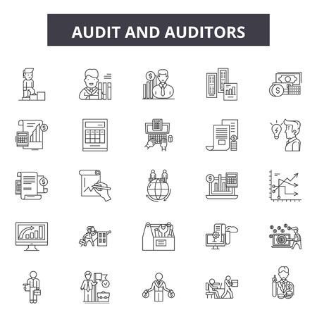 Iconos de línea de auditoría y auditores, signos, conjunto de vectores, concepto de esquema, ilustración lineal