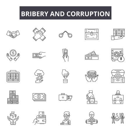 Ikony linii przekupstwa i korupcji, znaki, wektor zestaw, koncepcja konspektu, ilustracja liniowa Ilustracje wektorowe