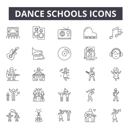 Dance schools concept line icons, signs, vector set, outline concept, linear illustration