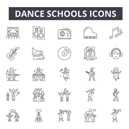 Icônes de ligne de concept d'écoles de danse, signes, ensemble de vecteurs, concept de contour, illustration linéaire