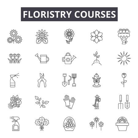 Floristry education line icons, signs, vector set, outline concept, linear illustration Ilustración de vector
