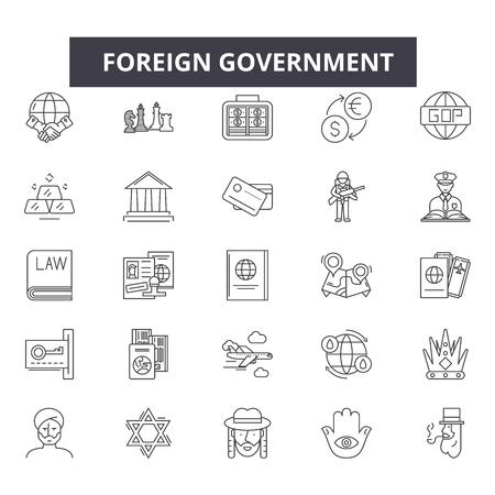 Icone della linea del governo estero, segni, set di vettore, concetto di contorno, illustrazione lineare