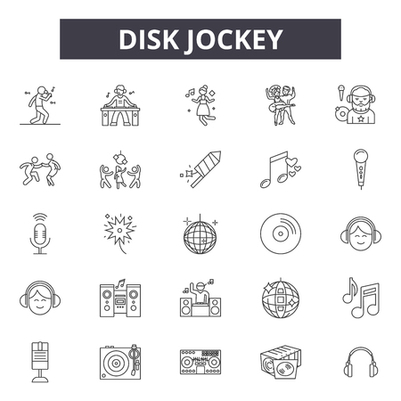 Disk jockey line icons, signs, vector set, outline concept, linear illustration