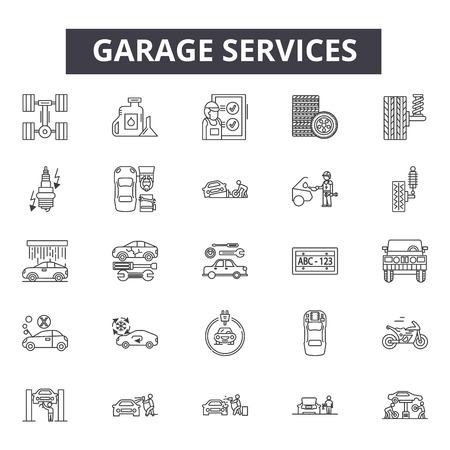 Garage services line icons, signs, vector set, outline concept, linear illustration 向量圖像