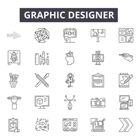 Graphic designer line icons, signs, vector set, outline concept, linear illustration Ilustracja