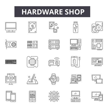 Hardware shop line icons, signs, vector set, outline concept, linear illustration Foto de archivo - 122419141