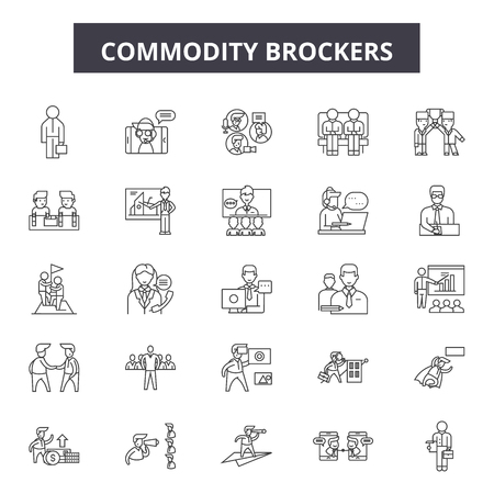 Commodity brokerage service line icons, signs, vector set, outline concept, linear illustration Banque d'images - 122419146