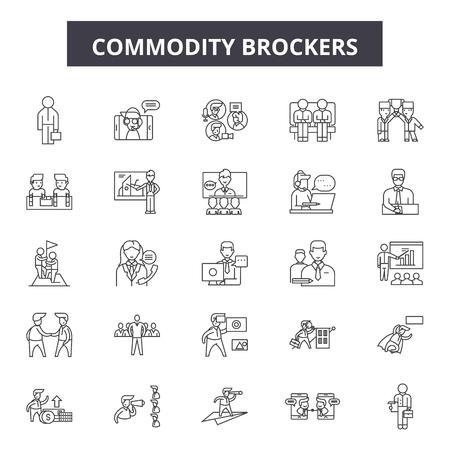 Iconos de línea de servicio de corretaje de productos básicos, signos, conjunto de vectores, concepto de esquema, ilustración lineal Ilustración de vector