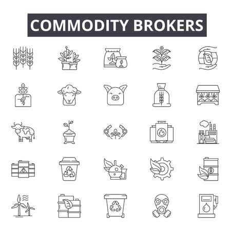 Commodity brokers line icons, signs, vector set, outline concept, linear illustration