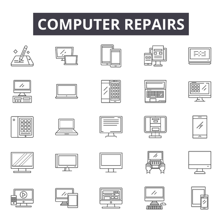 Computer repairs line icons, signs, vector set, outline concept, linear illustration Illustration