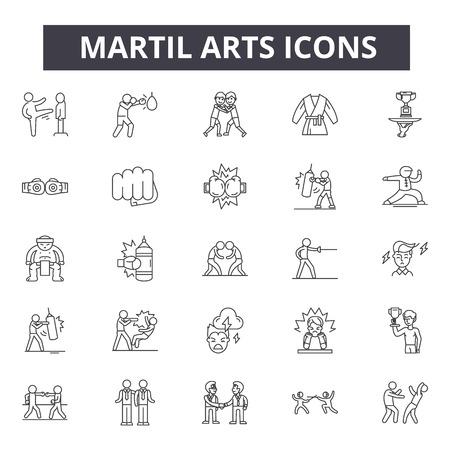 Ikony linii koncepcji sztuk walki, znaki, wektor zestaw, koncepcja konspektu, ilustracja liniowa