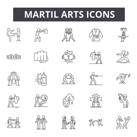 Martial arts concept line icons, signs, vector set, outline concept, linear illustration 矢量图像