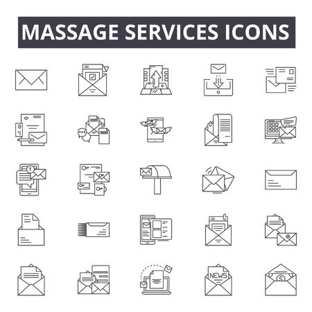 Massage services concept line icons, signs, vector set, outline concept, linear illustration