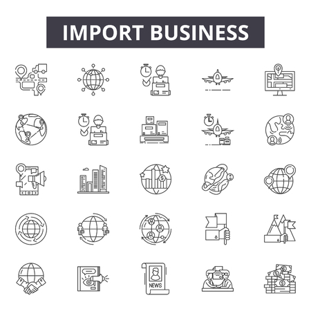 Import business line icons, signs, vector set, outline concept, linear illustration Archivio Fotografico - 122419244