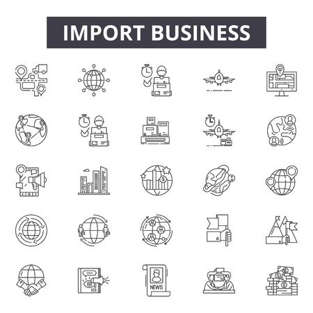 Import business line icons, signs, vector set, outline concept, linear illustration Illusztráció