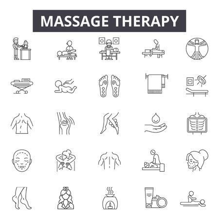 Ikony linii terapii masażu, znaki, wektor zestaw, koncepcja konspektu, ilustracja liniowa