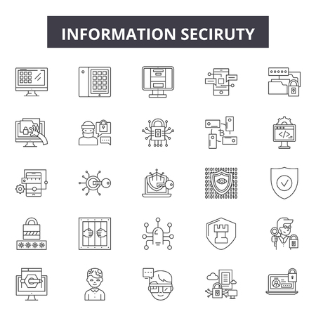 Information security line icons, signs, vector set, outline concept, linear illustration Illustration