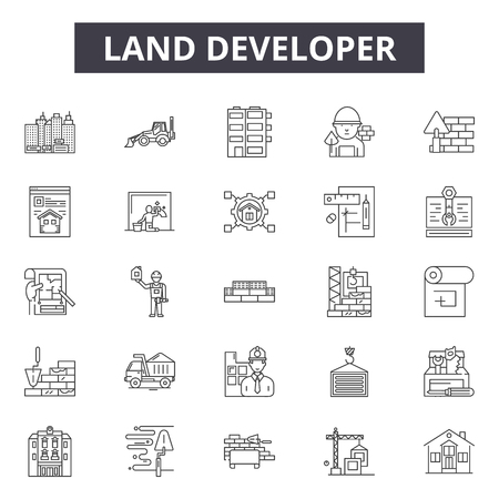 Land developer line icons, signs, vector set, outline concept, linear illustration Ilustrace