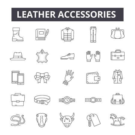 Icone della linea di accessori in pelle, segni, set di vettori, concetto di contorno, illustrazione lineare
