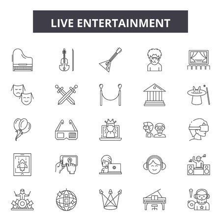 Live entertainment line icons, signs, vector set, outline concept, linear illustration