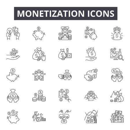 Monetization concept line icons, signs, vector set, outline concept, linear illustration