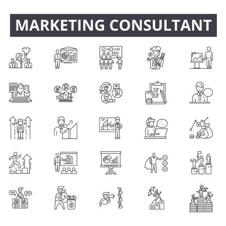Icônes de ligne de concept de consultant en marketing, signes, ensemble de vecteurs, concept de contour, illustration linéaire