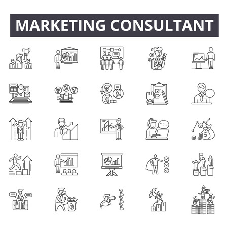 Marketing consultant concept line icons, signs, vector set, outline concept, linear illustration Banque d'images - 122419216