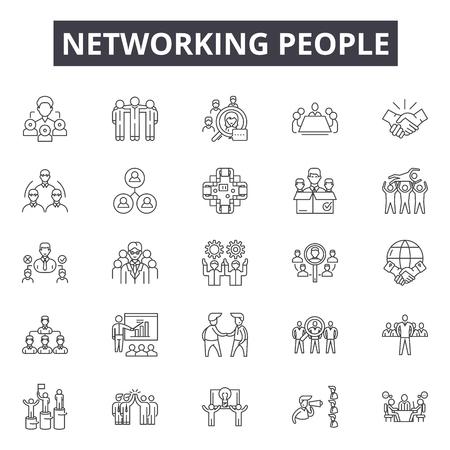 Icônes de ligne de personnes en réseau, signes, ensemble de vecteurs, concept de contour, illustration linéaire Vecteurs
