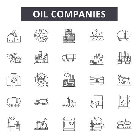 Ölgesellschaften Liniensymbole, Zeichen, Vektorsatz, Umrisskonzept, lineare Illustration