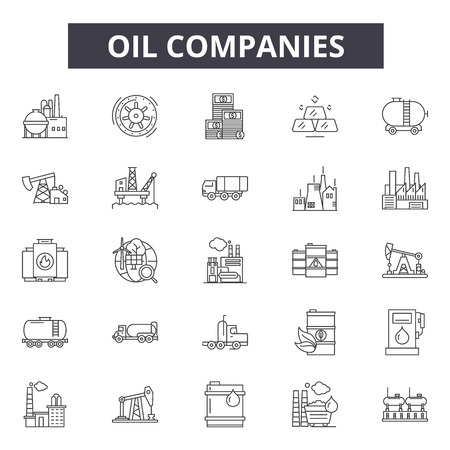 Oil companies line icons, signs, vector set, outline concept, linear illustration