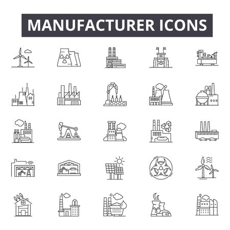 Manufacturer concept line icons, signs, vector set, outline concept, linear illustration