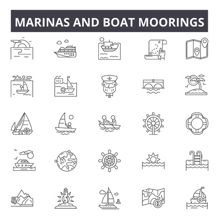 Marinas and boat moorings line icons, signs, vector set, outline concept, linear illustration