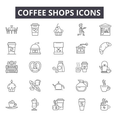 Coffee store line icons, signs, vector set, outline concept, linear illustration Illustration
