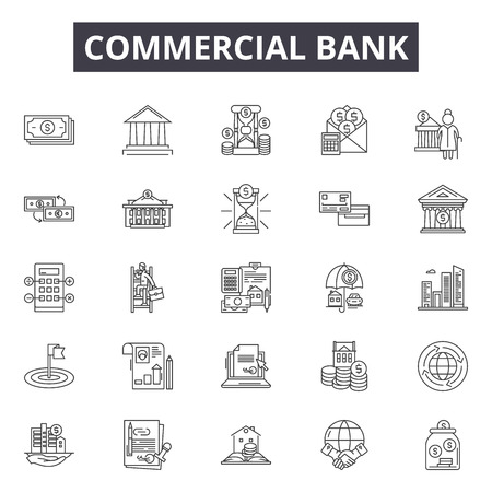 Commercial bank line icons, signs, vector set, outline concept, linear illustration 向量圖像