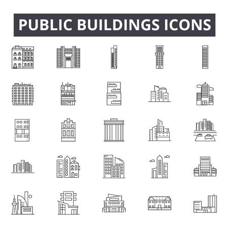 Public buildings line icons, signs, vector set, outline concept, linear illustration Ilustração