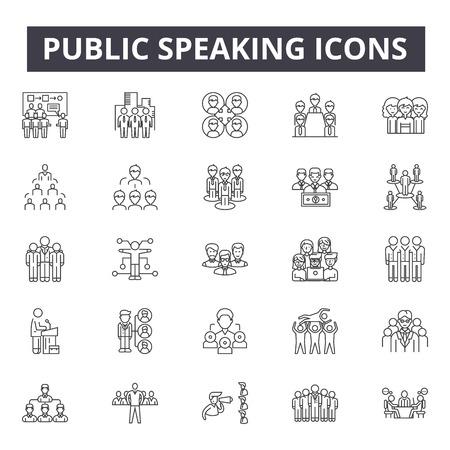 Iconos de línea de hablar en público, signos, conjunto de vectores, concepto de esquema, ilustración lineal Ilustración de vector