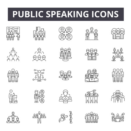 Public speaking line icons, signs, vector set, outline concept, linear illustration