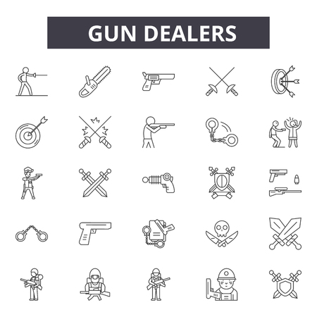 Gun dealers line icons, signs, vector set, outline concept, linear illustration Illustration