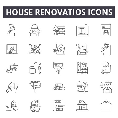 House renovation line icons, signs, vector set, outline concept, linear illustration Illustration