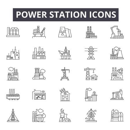 Iconos de la línea de la central eléctrica, signos, conjunto de vectores, concepto de esquema, ilustración lineal
