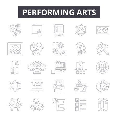 Performing arts line icons, signs, vector set, outline concept, linear illustration Foto de archivo - 122419406