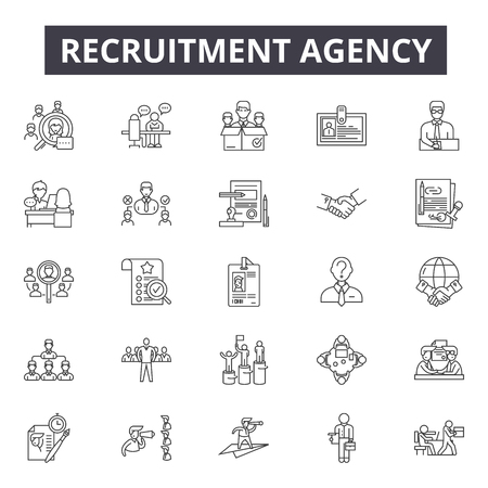 Recruitment agency line icons, signs, vector set, outline concept, linear illustration